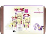Dermacol Freesia Flower Shower sprchový olej 200 ml + sprchový krém 200 ml + krém na ruce 30 ml + plechová krabička, kosmetická sada