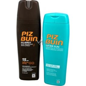 Piz Buin Allergy SPF15 mléko na opalování ve spreji 200 ml + Piz Buin After Sun zklidňující chladivé hydratační mléko po opalovaní 200 ml, duopack