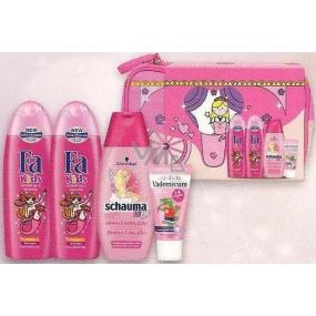 Fa Kids Mořská panna 2 x sprchový gel 250 ml + Schauma Kids Girl šampon 250 ml + Vademecum Junior Jahoda zubní pasta 50 ml + taštička set pro malé princezny