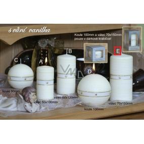 Lima Aura Vanilka vonná svíčka žlutá válec v dárkové krabičce 70 x 150 mm 1 kus