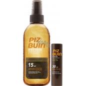 Piz Buin Wet Skin Transparent Sun Spray transparentní sprej na opalování SPF15 150 ml + Piz Buin Lipstick balzám na rty SPF30 4,9 g, duopack