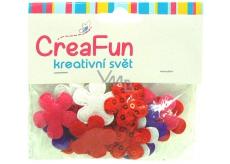 CreaFun Textilní dekorace Květina s flitry mix barev 28 x 28 mm 20 kusů