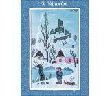 Albi Hrací přání do obálky K Vánocům Kluk se sáňkami Bílé Vánoce Helena Vondráčková 14,8 x 21 cm
