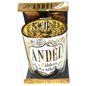 Albi Třpytivý svícen ze skla na čajovou svíčku ANDĚL s ďáblem v těle, 7 cm
