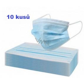 Rouška 3 vrstvá ochranná zdravotní netkaná jednorázová, nízký dýchací odpor 10 kusů