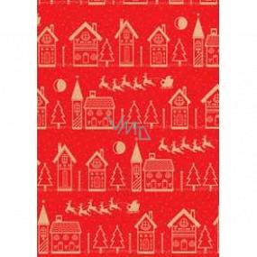 Ditipo Dárkový balicí papír 70 x 200 cm Vánoční KRAFT červený béžové domečky