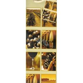 Nekupto Dárková papírová taška na láhev 853 01 ALH Béžová motiv vinice 33 x 10 x 9 cm