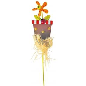 Zápich květináč s oranžovým větrníkem 9 cm + špejle