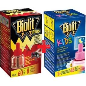 Biolit Plus Odpařovač tekutá náhradní náplň 60 nocí proti mouchám a komárům 46 ml + Biolit Kids Elektrický odpařovač proti komárům 45 nocí náhradní náplň 35 ml