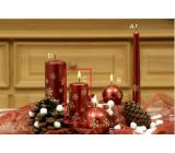 Lima Vločka svíčka červená válec 50 x 100 mm 1 kus