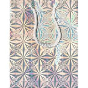 Nekupto Dárková papírová taška malá 14 x 11 x 6,5 cm stříbrná hologramová 050 02 THS