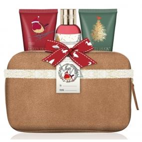 Baylis & Harding Moruše, Jmelí a Vánoční stromek sprchový krém 100 ml + tělové mléko 50 ml + krém na ruce 50 ml + béžová toaletní taška z umělého semiše, kosmetická sada