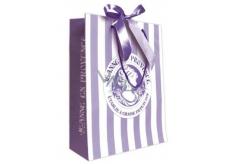 Jeanne en Provence Dárková papírová taška střední 24,5 x 30 cm fialová