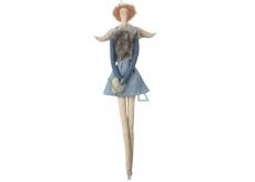 Andělka látková v džínové a šedé vestě na zavěšení 43 cm