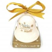 Nekupto Vánoční keramický zvoneček s nápisem Šťastné a veselé (z) 6,5 cm, x 5,5 cm