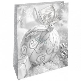 Nekupto Dárková papírová taška 32,5 x 26 x 13 cm Vánoční stříbrná baňka WBL 1943 02