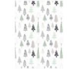 Ditipo Dárkový balicí papír 70 x 100 cm Vánoční bílý - stromky 2 archy