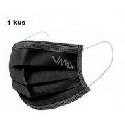 Shield Rouška 3 vrstvá ochranná zdravotní netkaná jednorázová, nízký dýchací odpor 1 kus černá