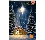 Albi Svítící přání do obálky K Vánocům Betlém v krajině 14,8 x 21 cm