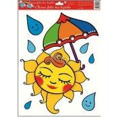 Room Decor Okenní fólie bez lepidla sluníčko s deštníkem 42 x 30 cm 1 kus