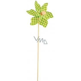 Větrník károvaný zelený 9 cm + špejle 1 kus