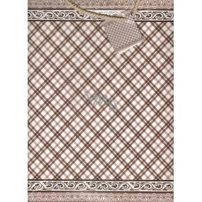Nekupto Dárková papírová taška velká BL Hnědé káro 32,5 x 26 x 13 cm