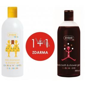 Ziaja Kids 2v1 Sušenkovo vanilková zmrzlina šampon a sprchový gel 400 ml + Bublinková Cola sprchový gel pro děti 500 ml, duopack