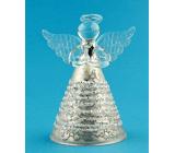 Anděl skleněný na postavení béžový 7 cm