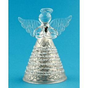 Anděl skleněný béžový na postavení 7 cm