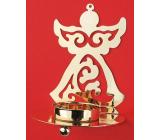 Svícen kovový zlatý anděl 11 cm na čajovou svíčku