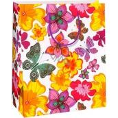Ditipo Dárková papírová taška velká bílá, motýli, květy 26,4 x 13,7 x 32,4 cm AB