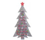 Kalendář adventní filcový šedý strom 50 x 93 cm