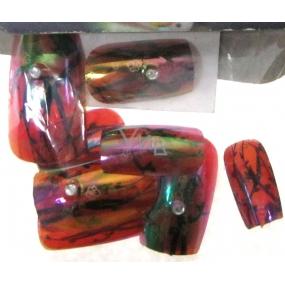 Umělé nehty barevné s kamínkem 10 kusů