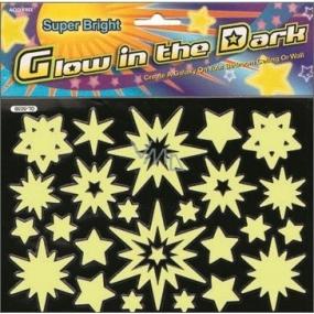 Samolepky hvězdičky zářící ve tmě 20 x 20 cm 1 arch