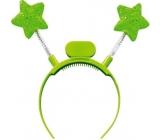 Čelenka svítící s Led hvězdami zelená 1 kus