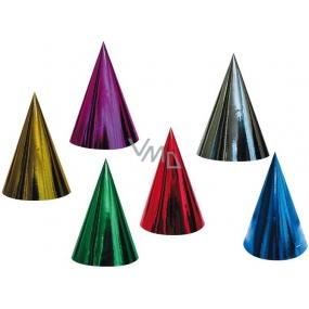 Karnevalový klobouček hologramový různé barvy 6 kusů v balení