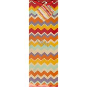 Nekupto Dárková papírová taška na láhev 33 x 10 x 9 cm barevné vlnky 1147 01 KFLH