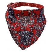 B&F Obojek kožený s bavlněným šátkem červeným 1,8 x 45 cm