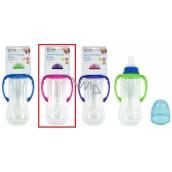 First Steps Feeding Bottle kojenecká lahev 0+ čirá s úchopy růžové barvy 250 ml