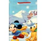 Ditipo Disney Dárková papírová taška pro děti L Mickey Mouse a Pluto na bruslích 26,4 x 12 x 32,4 cm