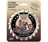 Nekupto Hobby 3v1 otvírák, podtácek, magnet Vášnivý motorkář 10 cm