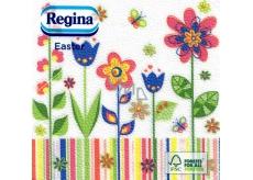 Regina Velikonoční papírové ubrousky Barevné květiny 1 vrstvé 33 x 33 cm 20 kusů