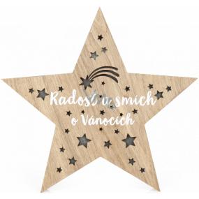 Albi Světelná vánoční dekorace Hvězda dřevěná 15 LED 25 x 3 x 24 cm