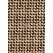 Ditipo Dárkový balicí papír 70 x 200 cm KRAFT Černé ornamenty
