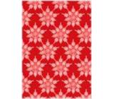 Ditipo Dárkový balicí papír 70 x 100 cm Vánoční červený - velké bílé vločky 2 archy