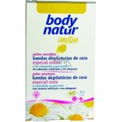 Body Natur Sensitive voskové pásky pro epilaci obličeje s heřmánkem a vitaminem E 12 kusů + poepilační ubrousky 2 kusy