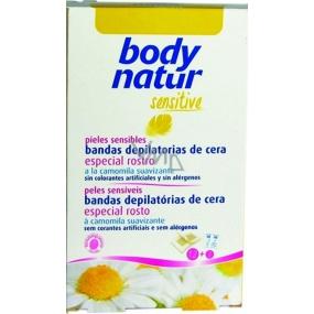 Body Natur Sensitive Heřmánek a vitamín E epilační voskové pásky na obličej 12 kusů + poepilační ubrousky 2 kusy