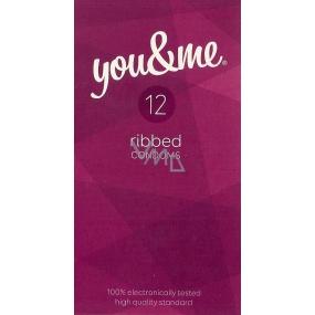 You & Me Ribbed vroubkovaný lubrikovaný kondom 12 kusů