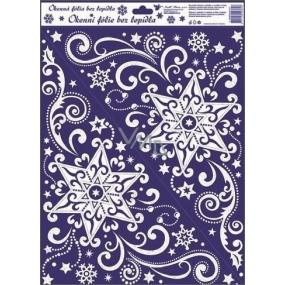 Okenní fólie bez lepidla rohová s duhovými glitry hvězdy 42 x 30 cm