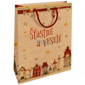 Nekupto Dárková kraftová taška 28 x 37 cm Vánoční Šťastné a Veselé 605 WKHL